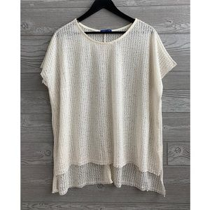 Sweet Claire ivory open knit top NWOT